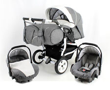 Our bestseller: DUO STARS twin Pram/pushchair+2 car seats;certified to BS5852