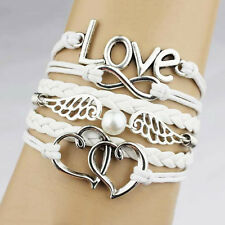 Infinity Love Heart Wing Pearl Leather Charm Bracelet Plated Silver DIY