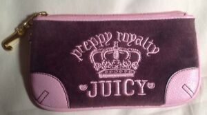 JUICY COUTURE NEW AUTH Women's Brown Velour with pink leather Wristlet Clutch
