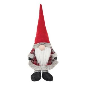 Red Plaid Gnome Door Stop Figurine 23.6 Inch New