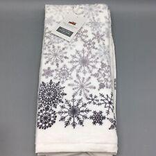x2 Rachel Ashwell Snowflake Terry Fuzzy Kitchen Towel Set Ombre Gray Christmas
