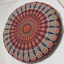 """35"""" Round Floor Cushion Indian Peacock Mandala Cotton Pouf Seating Cover Pet Bed"""