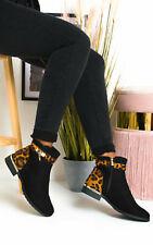 Ikrush para mujer Charlee Leopardo Imitación Gamuza Botas al tobillo