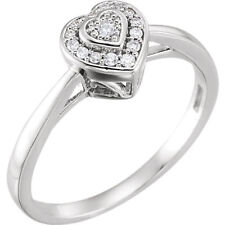 Diamond Halo-Style Heart Promise Ring In 10K White Gold 08 ct. tw