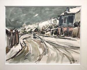 Herbo Fernand aquarelle et encre sur papier signée paysage de neige