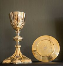 splendid sterling silver neogothic chalice and paten with an enamel decoration
