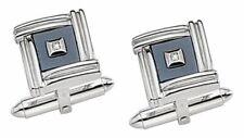 14K WHITE GOLD MEN'S CUFFLINKS diamond 11.6 GR. DOLAN BULLOCK COMPANY usa made