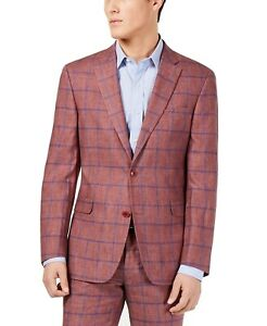 Tommy Hilfiger Mens Suit Jacket Red Size 44 Windowpane Modern Fit $295 #028