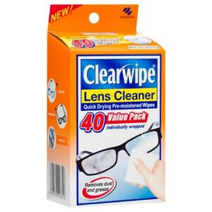 Clearwipe Lens Cleaner Wipes 40 Pack Clean Glasses Pre-moistened Non-Scratching