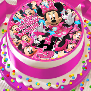 MINNIE MOUSE HAPPY BIRTHDAY PERSONALISED 7.5 INCH EDIBLE CAKE TOPPER B-038G
