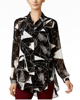 ALFANI New Women's 10 Black White Print Oversized Blouse Semi-Sheer Top $79 NWT
