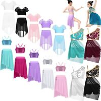 Kids Girls 2 Piece Ballet Dance Dress Shiny Lyrical Latin Skirt Bra Tops Costume