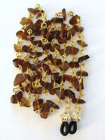 Brown Glass Bead Chips Link Eyeglass Chain Holder