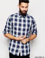 Gstar Rivo Core Mens Check Shirt Smart Casual Imperial Blue Button Small S   *15