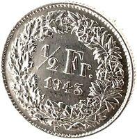 Switzerland 1/2 Franc 1943 B  Silver Coin KM#23.