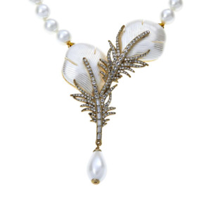 """HEIDI DAUS  """"Pretty Plumage"""" White Faux Pearls Beaded Crystal Drop Necklace"""