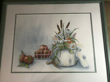 "Large A Scott ""Still Life With Flowers And Apples "" Watercolor - Signed/Framed"