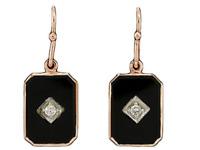 E200 Genuine 9K Yellow, Rose or White Gold Natural ONYX & Diamond Drop Earrings