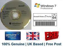 MICROSOFT Windows 7 PRO Professional adesivo con codice di licenza + 64 Bit DVD ORIGINALE