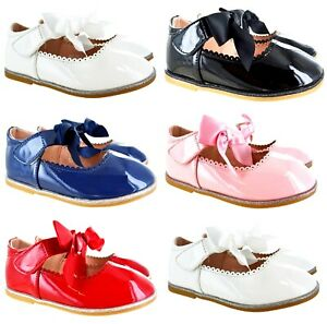 KIDS GIRLS CHILDRENS SCHOOL FLAT BOW DETAIL STRAP BOW PARTY BRIDESMAID SHOES SZ