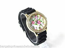 Negro y Oro de Silicona Jelly Bean Style Diamante Spray Rose Gel Reloj de Moda