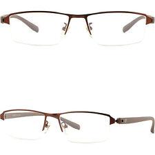 Damen Herren Brille Brillengestell Titan Metall Fassung Leicht Halbrand Braun