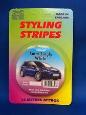 Styling Coachline White Racing Pin Stripe Single 6mm Wide 10 Metres Long