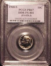 1968-S Proof Roosevelt Dime PCGS PR67 FS-801 double die