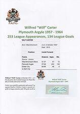 Wilf carter Plymouth Argyle 1957-1964 rare original hand signed Coupe/Carte