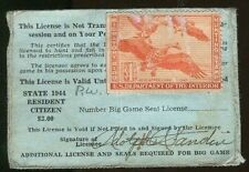WASHINGTON 1944 Hunting & Fishing License RW11 UNSIGNED State Duck Stamp  - 739