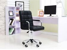 Black Modern Office Leather Chair Hydraulic Swivel Executive Computer Desk NEW -