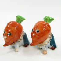 Vintage Anthropomorphic Carrot Head People Salt Pepper Shaker Set Japan INV266