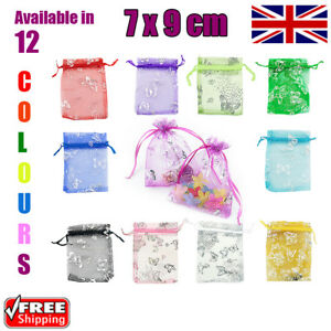 7 x 9 cm Butterfly Organza Gift Wedding Favour Bags Jewellery Pouch in 12 Colour