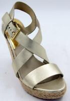 Michael Kors Abbott Gold Leather Espadrille Wedge Women's Sandals Sz 8.5 M