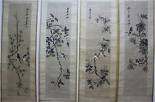 """RARE Chinese 100% Hand Painting 4 Scrolls """"Flowers And Birds"""" By Qi baishi 齐白石 Q"""
