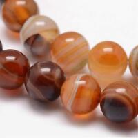 45 Streifen Achat Perlen Natur Rund Indische Braun 8mm Edelsteine DIY G735#3