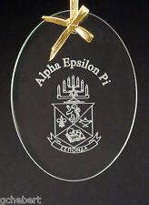Alpha Epsilon Pi, ΑΕΠ, Beveled Crystal Oval Ornament/Sun Catcher W/ Crest & Name