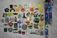 Disney pin trading Starter Set Lanyard + 50 pin lot NEW Stitch Sparky Yang