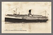 """[62850] OLD REAL PHOTO POSTCARD STEAMER """"CITY OF GRAND RAPIDS"""" OUTWARD BOUND"""