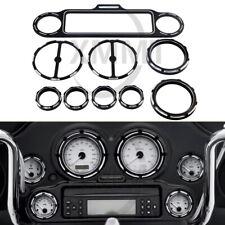 Black Gauge Bezel Speedometer Speaker Trim Ring Kit For Harley Street Road Glide