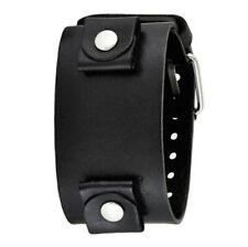 Nemesis Black Wide XL Leather Cuff Watch Band 24mm LBBN
