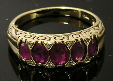 C507 Genuine 9ct Gold Natural RUBY & DIAMOND Anniversary Ring made in your size
