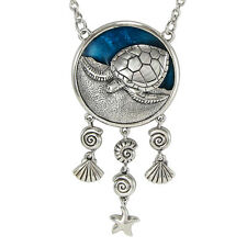 Solid Sterling Silver Turtle Ocean Necklace 18 inch chain Lustrous Blue Enamel