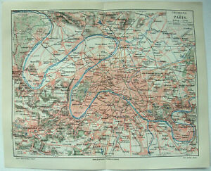 Paris, France & Vicinity - Original 1908 Map by Meyers. Antique