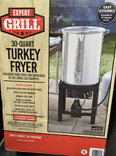 Expert Grill 30QT DurableSteel Base Turkey Fryer With Rack Lifter Thermometer