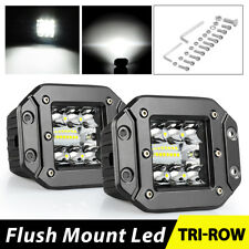 2x 260W Flush Mount LED Pods Flood Spot Work Light Bar Offroad Backup Pickup 4WD