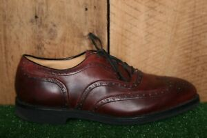 JOHNSTON & MURPHY Chili Red Leather Trampoline Wingtip Oxfords Sz. 9 EEE/E