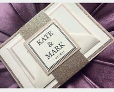 ROSE GOLD & BLUSH Glitter Wedding Invitations with RSVP cards  - Personalised ♡♡