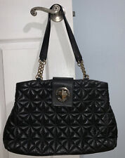 Kate Spade Black Gold Chain Quilted Leather Tote Shoulder Bag