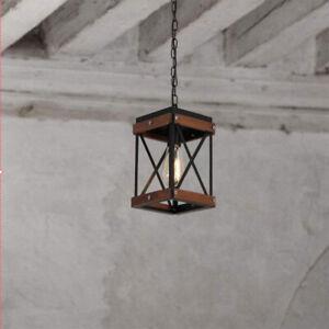 Vintage Loft Single Bulb Black Metal Wood Square Cage Bar Cafe Pendant Lights